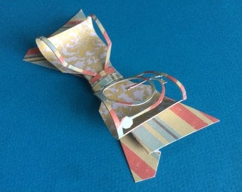 Unique Handcrafted Penny Farthing Silhouette Paper Bow-ties