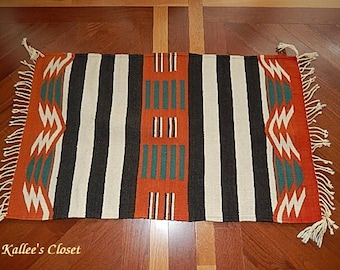 "EXCELLENT Authentic Mexican Zapotec 100% Virgin Wool Rug - 38.5"" x 23.5"""