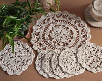 Amabel Doilies Set - Set of 7 - Crochet Doilies Placemat Set Dining Linen Rustic Kitchen Decor Crochet Lace Doily Natural Linen Christmas