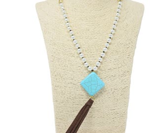 Beads Source Handmade Suede Necklace with Large Hole Glass Pearl and a Turquoise Square Pendant