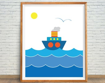 Blue Sailboat Art, Sailboat Kids Decor, Nautical Art Print, Nursery Boat Art, Boat Shower Gift, Boat Nursery Decor, Sailboat Digital Print