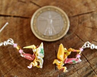 "Origami Drachen Ohrringe ""Tatsu"" Gelb"