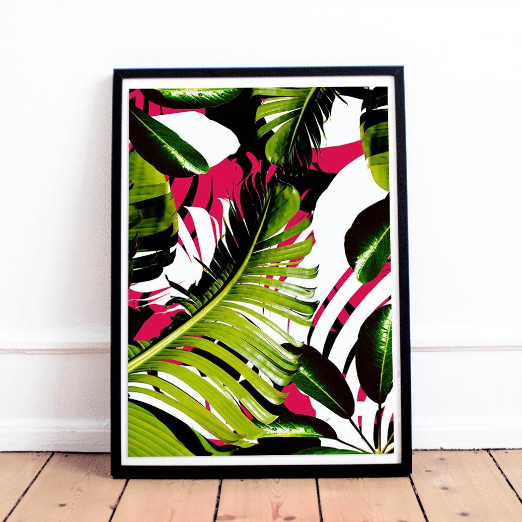 Plant leaf print wall art decor large tropical printable for Leaf wall decor
