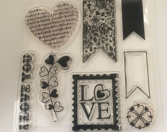 Love Stamp set - Scrapbooking - Card Making Supplies - I Love you  Stamp - hearts and banners
