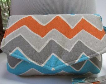 Small Grey/Orange/Turquoise Chevron Clutch, Wristlet, Makeup Bag, Purse