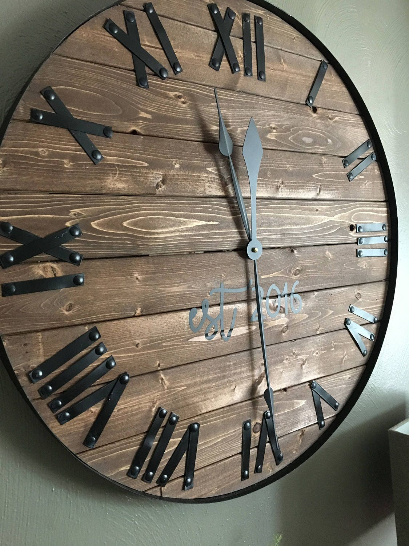 24 oversized wall clock farmhouse clock barn wood wall. Black Bedroom Furniture Sets. Home Design Ideas
