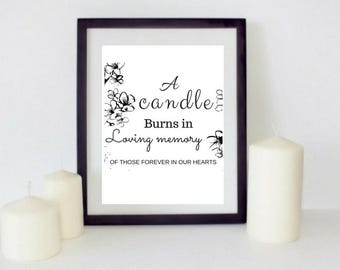 A Candle Burns Printable Wedding Memorial Sign Wedding Memory Sign Wedding Memorial Candle
