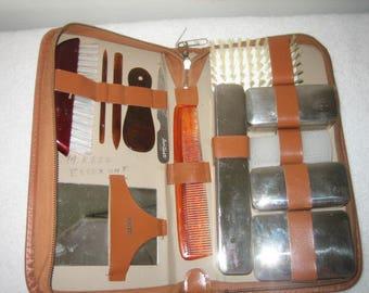 Vintage Grooming Kit Traveler Made In Germany Men's Manicure- Grooming Kit In Leather Case