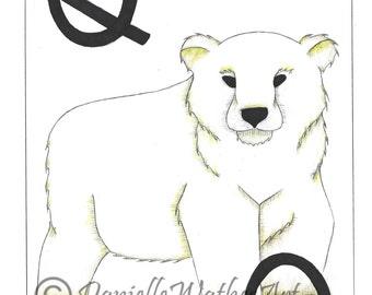 Polar Bear Watercolour print - Animal Illustration wall art - Animal Art Print - Animal Sketch/Drawing - Wall art -  by Danielle Wathes Art