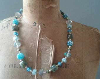 Blue sea and moss green bead necklace. Perfect for this summer.