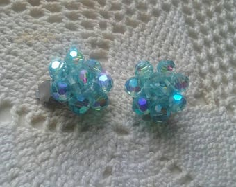 Sparkly blue crystal vintage clip earrings. Sky blue to aqua colors are amazing.was 15.00