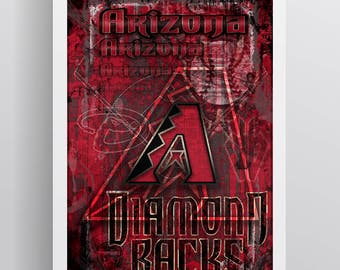 Arizona Diamondbacks Poster, Arizona D-Backs Artwork Gift, Diamondbacks Layered Man Cave Art