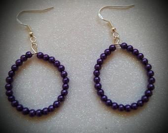 Purple Pearl Beaded Hoop Earrings