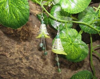 Fantasy fairy moss agate earrings