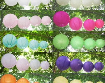 "5 x 8"" 10"" 12"" 14"" 16"" 18"" Round Paper Lanterns Lamp Shade Wedding Birthday Party baby shower celebration gift occasion engagement decorate"