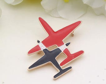 Very cute Gold Black and Red Number 5 Airplane CC Designer Inspired Enamel Brooch