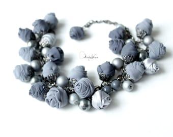 Fabric bracelet Rose bracelet Gray textile bracelet Fabric jewelry Flower bracelet Floral jewelry Clusters bracelet Friendship bracelet