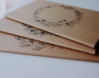 Kraft Brown Moleskin Notebooks with Wreath or Floral Print