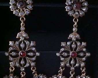 Vintage earrings with garnets and pearls