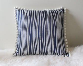 Handmade White Linen back / Blues & White textured front with White Pom Poms