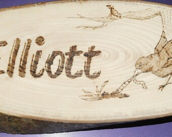 Hand crafted pyrography name plates - to order