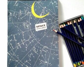 Sasek Illustration Constellations Sketchbook. Night Sky Journal. Space Available Blank Book. Artist Journal.