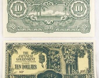 WWII Malaysia JAPANESE OCCUPATION Money Malaya 10.00 Dollars