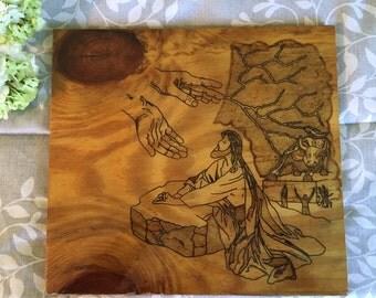Hand-crafted wooden Jesus plaque