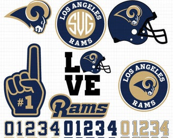 Los Angeles Rams- Cuttable Design Files (SVG, EPS, JPG) For Silhouette Studio, Cricut Design Space, Cutting Machines,Instant Download