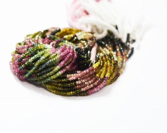 Multi TOURMALINE Faceted Beads 2-3 mm / 13 inch app