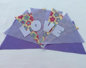 Handmade Personalised Bunting Made to Order in Selection of Pretty Lilac Themed Fabrics