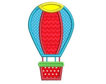 Hot Air Balloon Applique Embroidery Design, Air Travel, Boys Machine Embroidery, 4x4, 5x7, 6x10, Instant Download Design No: SA559-2