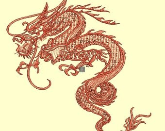 Monochrome dragon embroidery pattern