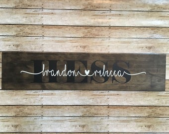 Personalized wood name sign