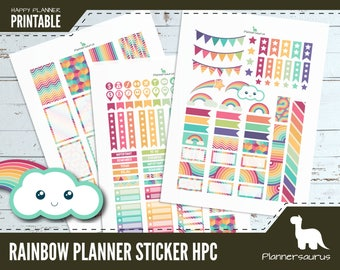 Rainbow printable planner stickers | instant download planner | Happy planner classic printables | digital weekly planner sticker download