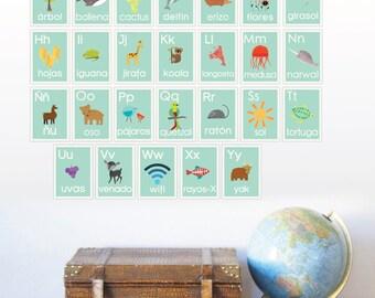 English Alphabet Blue Nature Children's Wall Cards, 5x7, Nursery Wall Art, Kid's Room Animal Decor, ABC, Nature Art, Gender Neutral Nursery