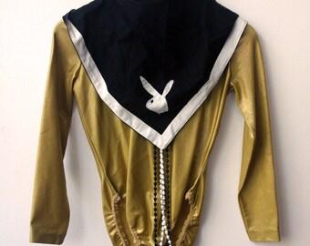 Gold Dust Woman / Vintage 1990's Donna Karan Gold Long Sleeve Bodysuit / Size S
