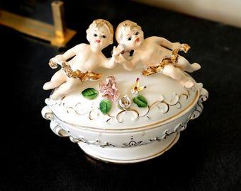 Vintage French Angelic Ceramic Box