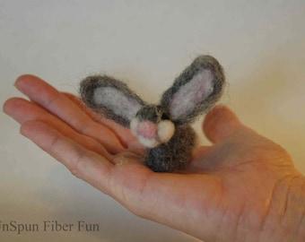 Bunny, big ears, handmade, needle felted, tiny