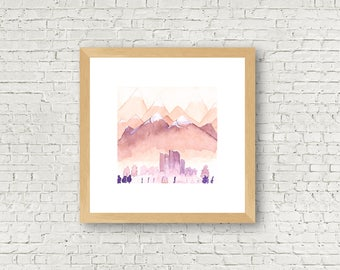 Mountain City  - Wall Art - Watercolor Painting - Art Print - Wall Decoration