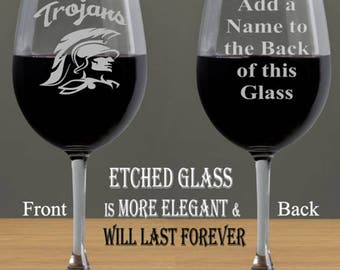 USC Trojans Etched 20oz Wine Glass, Fight On!, Custom Personalized Etched Wine Glass, University Southern California Trojans, Add a Name