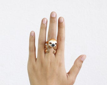 Sloth Ring Set Animal Jewelry  -Three pieces Ring Collection- Handcraft Jewelry