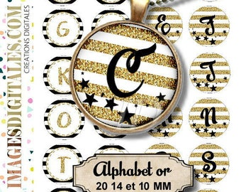 ALPHABET OR 20 14 et 10 mm id 1 Digital Collage Sheet Printable Instant Download for art jewelry scrapbooking bottle caps magnets pins