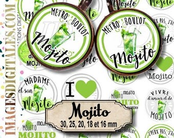 MOJITO ID 1 Digital Collage Sheet Printable Instant Download for art jewelry scrapbooking bottle caps magnets pins