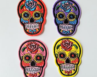 Skull Patches, Iron On Patch, Sugar Skull, Embroidered ,Applique, Sew On Patch, Skull Patch