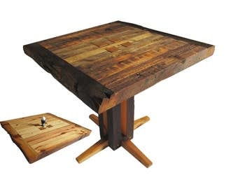 Table reversible top reclaimed wood