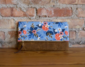 blue and coral floral foldover clutch, fold over bag, bohemian foldover clutch, purse, handbag, purchase with purpose, modern clutch