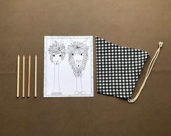 Pixie Bonnet // B&W gingham // Pull String