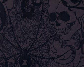 Alexander Henry Gothic After Dark Spider, Skull, Raven Collage on Grey 100% Cotton Fabric - HALF METRE
