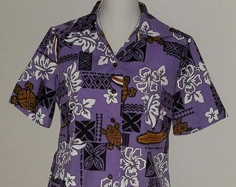 Ladies Surfboards and Sea Turtles Fitted Camp Shirt